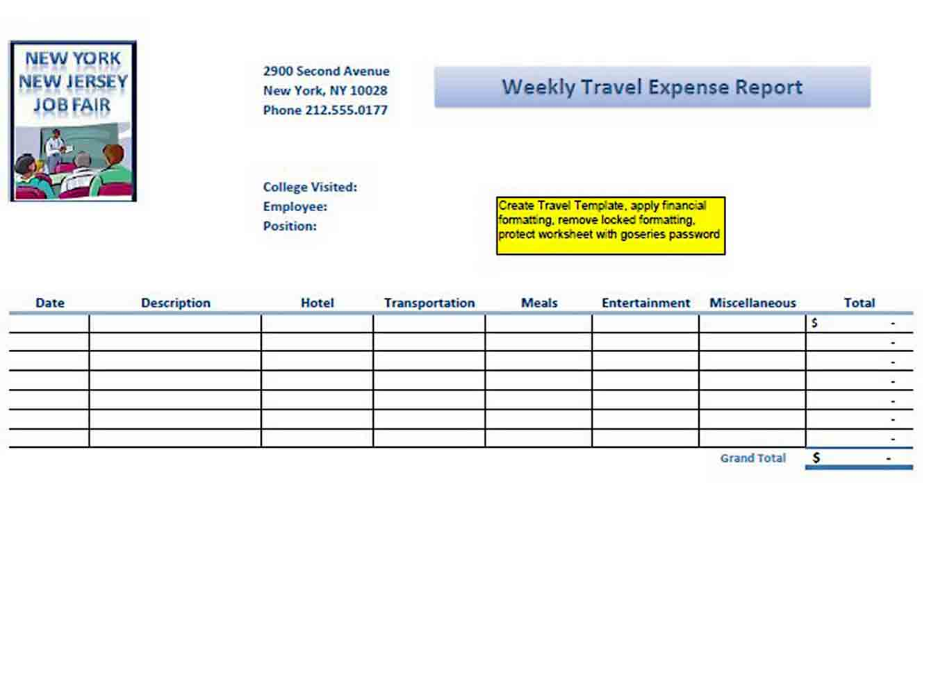 Weekly Travel Expense Report sample