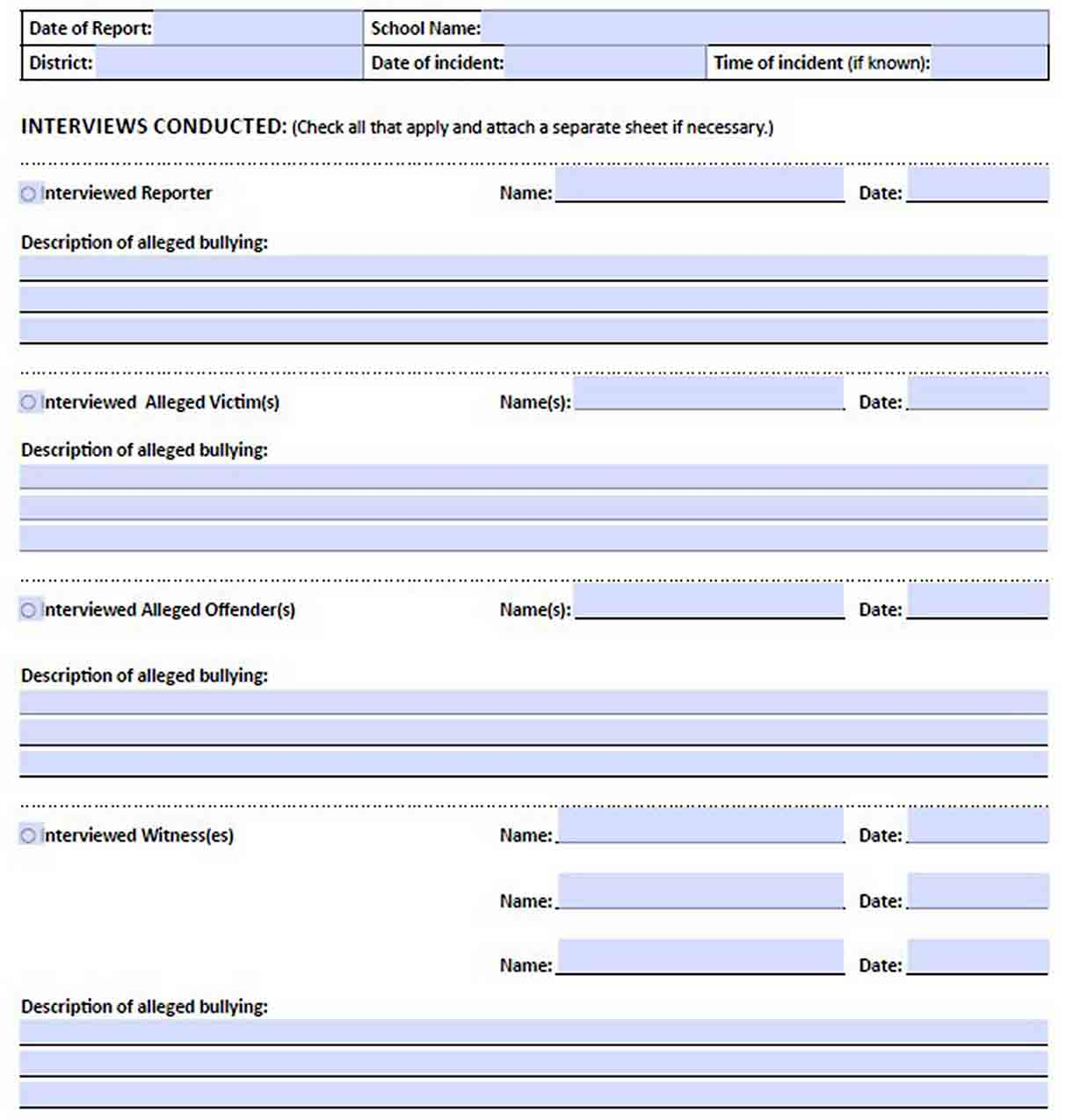 bullying investigation report template sample